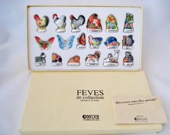 Feves Animals Set Cats,Dogs,Fish,Hens,Birds,butterfly Boxed 18 Figures Plus free Gift (Perfect)