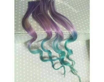 Mermaid Series - Pastel Bunny - Set of 2 clip in 100% human hair extensions - Remy Human Hair - Pastel Hair - Purple Hair - Dip Dye