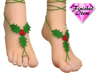 Crochet Barefoot sandals | beach anklets | HOLLY LEAVES | Myrtle Green | Red