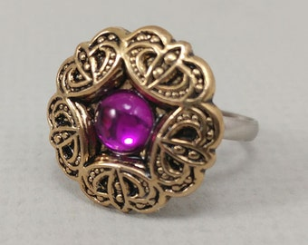 Purple and Gold Button Ring