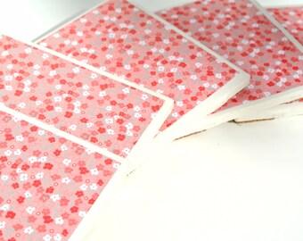 Set of 5 Pink Floral Coasters