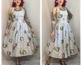 Vintage 1950's Grey Floral Suzy Perette Dress