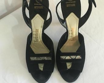 FLASH SALE Vintage 1950's Black Suede Heels by Knickerbocker