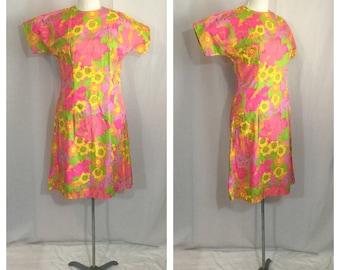 Vintage 1960's Psychedelic Floral Disco Dress