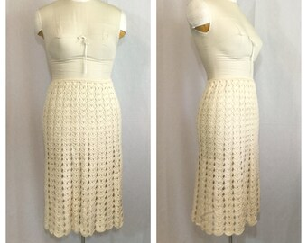 Vintage 1970's Cream Crochet Skirt