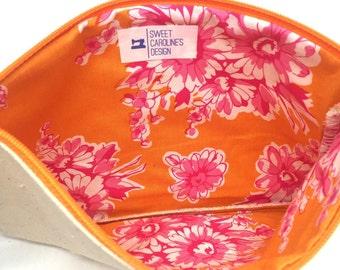 Floral Toiletry Bag, Floral Tote, Small Makeup Pouch, Purse Organizer, Business Card Holder, Makeup Travel Case, Canvas Zipper Bag