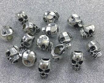 30pcs Antique Silver Skull Beads  Sugar Skull  Beads  10 mm x7mm