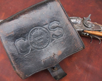 Leather Confederate States Cartridge/Ammunition Box - Civil War (Reproduction?) Military