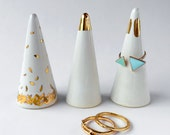 White and Gold Ring Cone - Ring Holder, Valentine's Day, Anniversary, Engagement Bridesmaid Gift, Wedding Favor