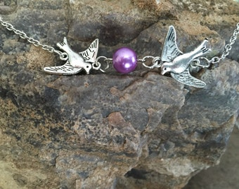 Flying sparrows with pearl necklace - Personalized with birth month color glass pearl