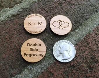 "Custom 1"" Wood Coins - Double Side"