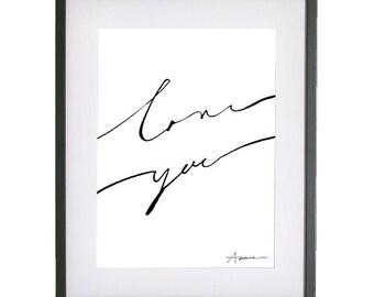 Love Ya Script Typography Print