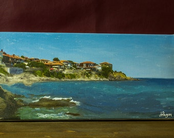 Canvas Print Digital Art Painting Sozopol Bulgaria Seaside Beach Waves Black Sea Old City Wall Decor Photo Canvas