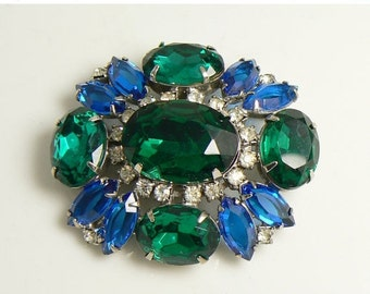 SUMMER SALE Open Back, Prong Set Blue and Green Glass Stone Brooch
