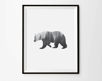 Bear shaped Forest Photography, Black and white Photography, 5 x 7 in, 8 x 10 in, 11 x 14 in, A4, A3, Digital print, Scandinavian Design