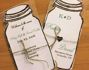 Rustic Mason Jar Wedding Program Fans and regular programs