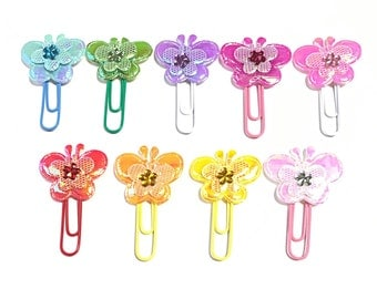 Butterfly paperclip bookmarks, rainbow butterfly bookmarks