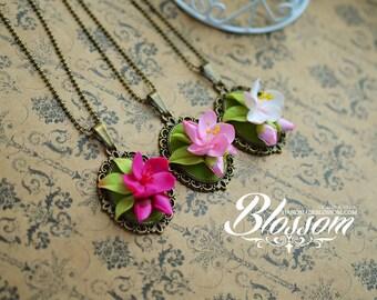 Sakura Blossom, bronze filigree pendant