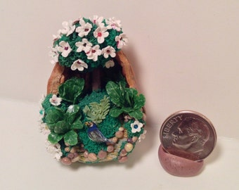Miniature Rocky Nature Path with Bluebird Diorama in Walnut Shell