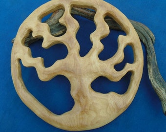 Large reclaimed wood tree silhouette wall decor. Carved wood Tree of life wall ornament.