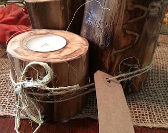 Set of 3 Rustic peeled Aspen Candleholders!