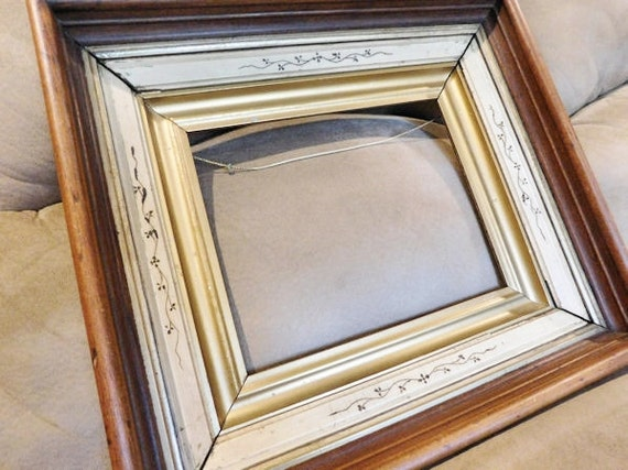 Antique Victorian Eastlake Frame 1800s Walnut Multi Layered Shadowbox Picture Frame Late 19th Century Home Decor Cottage