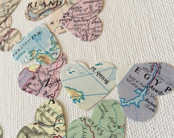 Wedding Table confetti, party confetti, 200 pieces, vintage world map, original map pages