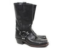 Vintage Frye Boot - 90s Frye Black Leather Harness Boot - 1990s Womans Frye Black Leather Square Toe Ring Harness Biker Boot Size 8 1/2 W