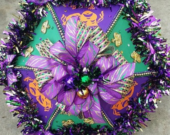 Mardi Gras Second Line Umbrella with Glittered Zebra Stripe Ribbon Accents