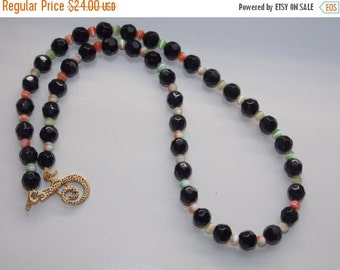 25%OFF Black Pearl with Orange and Green Cats Eye Necklace