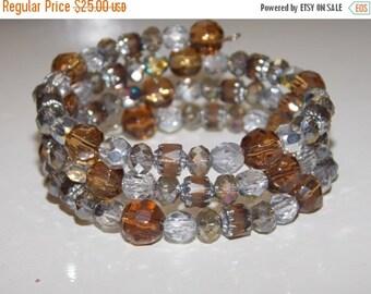25%OFF Amber Brown Silver Wrap Bracelet