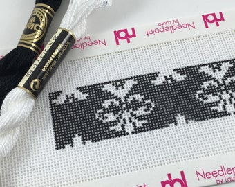 Damask pattern black and white needlepoint key fob canvas with fibers
