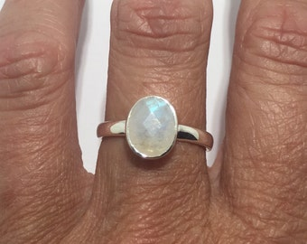 Beautiful 2.5 CT Faceted Rainbow Moonstone solitaire Solid 925 Silver Engagement Ring Sz 7 more sizes avail