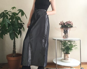 Silver Metallic Drawstring Skirt