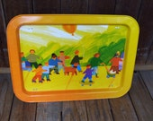 Childrens Yellow Metal Tray, Children in the Park,Metal Lap Tray, TV Folding Legs, Table Metalware Tin Bed Tray