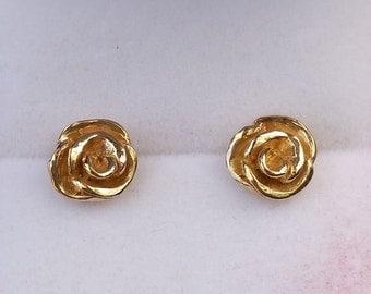 Gold Earrings Stud Earrings 14K Gold Handmade Artisan  Rose Gold Jewelry Girls Women Bride