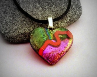 Dichroic Glass Heart Pendant and Necklace