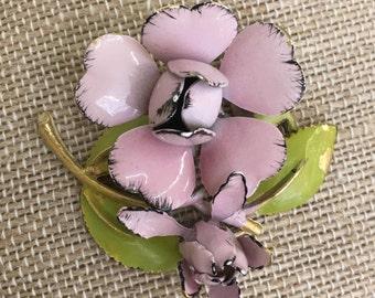 1970s Vintage Pink Flower with Stem Brooch Pin