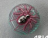 CZECH GLASS BUTTON: 22mm Black Widow Spider and Web Handpainted Czech Glass Button, Pendant, Cabochon (1)