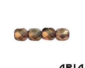 OLIVINE PATINA: 4mm Faceted Round Firepolish Czech Glass Beads (50 beads per strand)