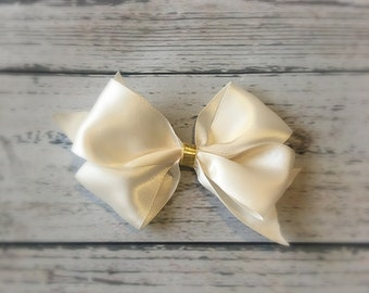 Ivory and gold hair bow