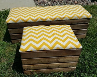 Padded Storage Crate Ottoman Xtra Long