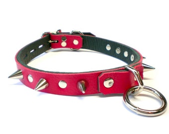 Red Leather Spiked BDSM Collar with bondage ring, rivets and spikes - for fetish slave or sub