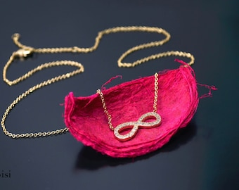 Zirconium gold plated necklace infinity