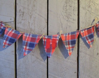 Red & Blue Plaid 1st Birthday Banner,  Red Blue Plaid 1st Birthday Bunting, Plaid First Birthday Banner, Plaid First Birthday Bunting, Plaid