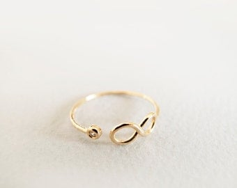 Gold Infinity Ring with CZ - Gift for her