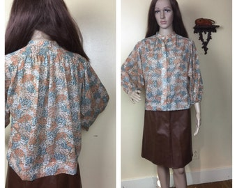 Vintage 70s TOP, Sheer Floral 70s Blouse Daisy Print