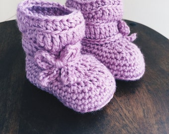 Baby Bow Slouch Boots - Purple Orchid Baby Booties