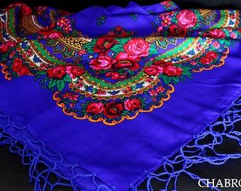 Royal blue BIG shawl scarf with flower patterns and fringes POLISH folk fashion SLAVIC colors