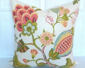 Kaufmann Pillow Cover - Designer Pillow - 18x18, 20x20, 22x22, Lumbar - Jacobean - Salmon, Olive Green, Yellow, Blue - Large Scale Floral